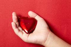 Heart in the hand. Isolated on red background stock photo