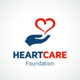 Heart in Hand Logo Template Royalty Free Stock Images