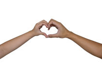 Heart hand by men and women Stock Photo