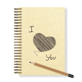 Heart hand painted blank realistic spiral notepad notebook and pencil Royalty Free Stock Photo