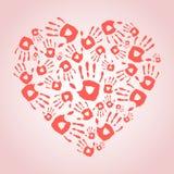 Heart with hand prints. Heart with hand print icons. Vector illustration Stock Image