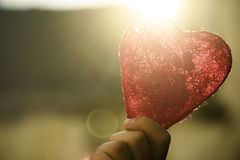 Heart in hand. Red valentine heart in hand Royalty Free Stock Photo
