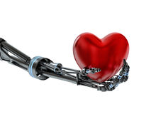 Heart in hand of robot on white background Royalty Free Stock Image