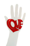 Heart on hand silhouette. Heart in love placed on hand silhouette Stock Photos