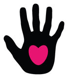 Heart on a hand silhouette Royalty Free Stock Images