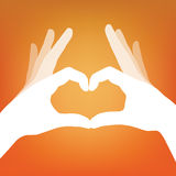 Heart in hand silhouette Royalty Free Stock Photo