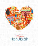 Heart with hand sketched Happy Hanukkah logotype, badge and icon Stock Images