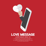 Heart In Hand From Smartphone Love Message Concept Stock Image