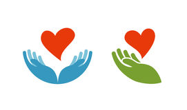 Heart in hand symbol or icon. Logo template for charity, health. Vector illustration vector illustration
