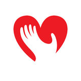 Heart with hand symbol, sign, icon, logo template for charity, health, voluntary, etc. Stock Photo