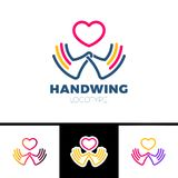 Heart in hand symbol, sign, icon, logo template for charity, health, voluntary, non profit organization, isolated on white backgro. Und,  illustration Stock Photography