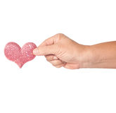 Heart on hand in Valentine day Stock Photo