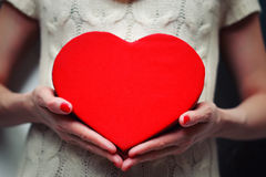 Heart hand valentine gift box Royalty Free Stock Photos