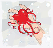 Heart in the hand. Vector illustration. The ocean of love. Stock Image