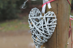 Heart. Handmade rattan heart hanging outdoor Royalty Free Stock Photography