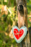 Heart handmade with Valentine`s Day, a declaration of love. Royalty Free Stock Photography