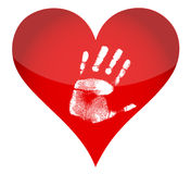 Heart and handprint illustration Stock Photography