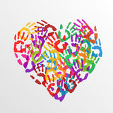 Heart handprints. Vector Stock Photos