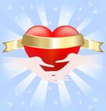 Heart in hands. On blue abstract background of a large scarlet heart with a golden ribbon that held the two hands Stock Image