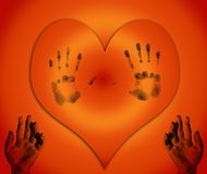 Heart with hands. Lonely heart with fingerprints and hands Royalty Free Stock Photography