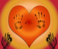 Heart with hands. Lonely heart with fingerprints and hands Royalty Free Stock Photos