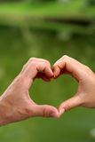 Heart and hands. A woman and man put their hands together to make a heart shape. background is green water Stock Images