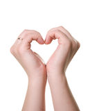 Heart from hands. Heart made from woman hands Stock Photo