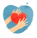 Heart in hands. Nice handmade abstract romantic illustration Stock Images