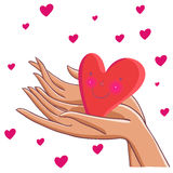 Heart in hands. Cute cartoon illustration Stock Photos