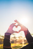 Heart from hands. In the background of the sun royalty free stock photos