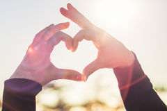 Heart from hands. In the background of the sun royalty free stock photography