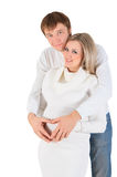 Heart from hands on belly of pregnant woman Stock Image