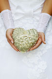 Heart in the hands of the bride Stock Images
