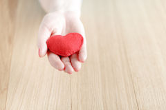 Heart in hands, female holds handmade sewn soft toy Stock Photo