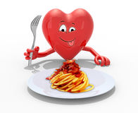 Heart with hands and fork in front of amatriciana dish Stock Photos