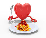 Heart with hands and fork in front of amatriciana dish Stock Images