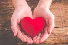With heart in hands. Giving love royalty free stock photo