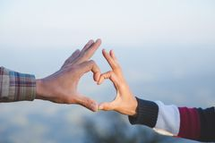Heart in hands, loving couple, Couple in love, Happy couple in love, Love couple stock photo