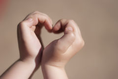 Heart in the hands. Heart made with the help of hands Royalty Free Stock Images