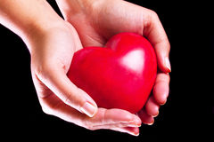Heart in hands over black background. Heart in hands as love and health symbol Stock Images
