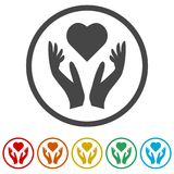 Heart in hands sign icon, Donation icon, 6 Colors Included. Simple vector icons set Stock Images