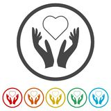 Heart in hands sign icon, Donation icon, 6 Colors Included. Simple vector icons set Royalty Free Stock Photos
