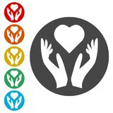 Heart in hands sign icon, Donation icon. Simple vector icons set Stock Image