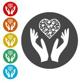 Heart in hands sign icon, Donation icon. Simple vector icons set Royalty Free Stock Photography