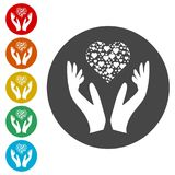 Heart in hands sign icon, Donation icon. Simple  icons set Stock Photos