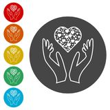 Heart in hands sign icon, Donation icon. Simple  icons set Stock Photo