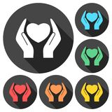 Heart in hands sign icons set with long shadow royalty free illustration
