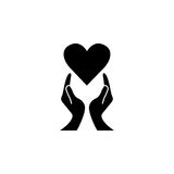 Heart with hands solid icon, healtcare sign Royalty Free Stock Photography