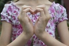 Heart of hands. Heart of hands symbolizing love stock photos