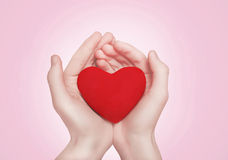 Heart in hands. Valentines day, romance, love concept royalty free stock photo